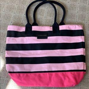 VS Black & Pink Stripe Tote Bag